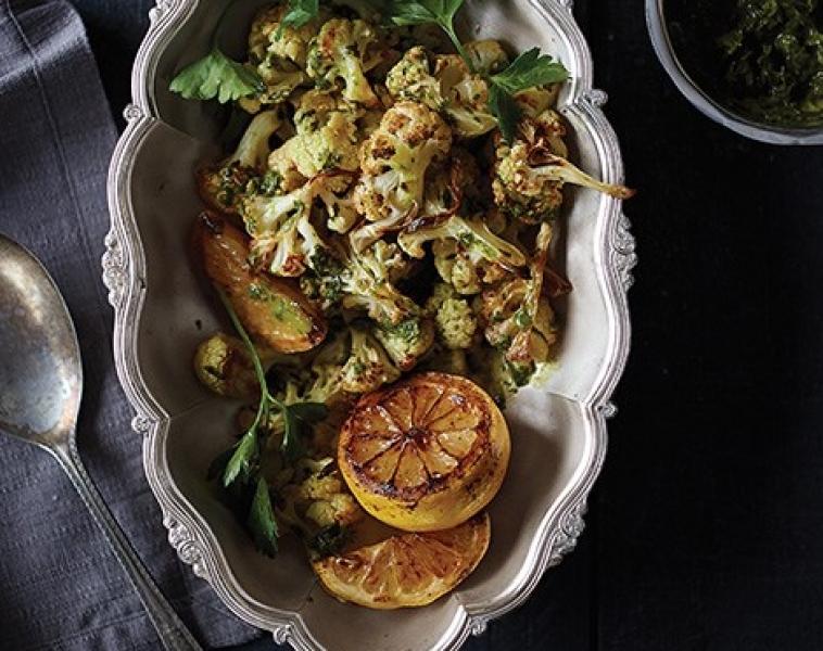 Rostad blomkål med citron-persiljedressing